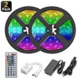 LED Strip Lights,32.8Ft/10M RGB Seasonal Lighting,300 LED Rope Lights,12V Safety Voltage Colorful Rope Lights Kit with Remote Controller,5A Power Adapter,LED Tape for House Decoration(2 Roll Lights)