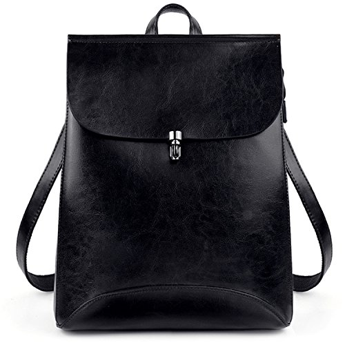 - UTO Women's Pu Leather Backpack Purse Ladies Casual Shoulder Bag School Bag for Large Black