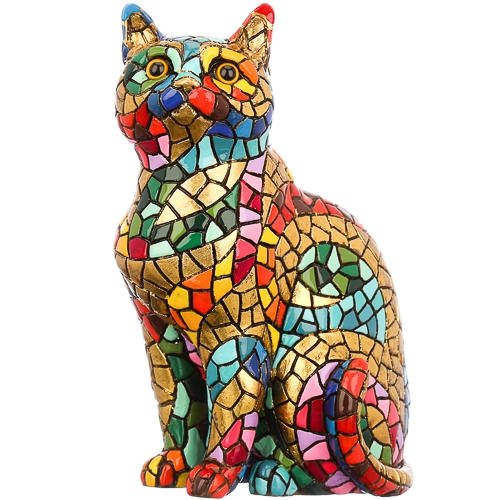 Laure TERRIER Ceramic cat Statue, Model Carnival Mosaic Barcino. Height 4,3 inches ()