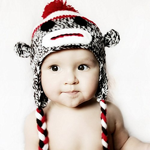 Handmade baby sock monkey hat - fits 3-8 year old -
