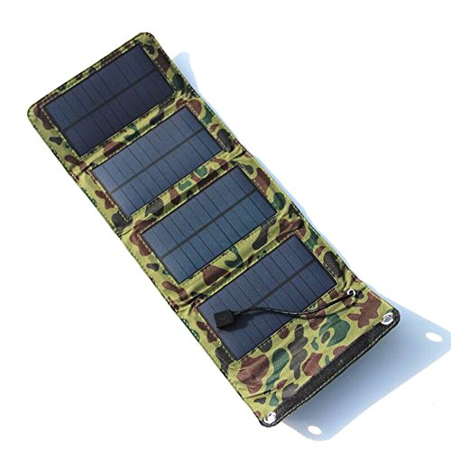 Renepv 7W Outdoor Solar Panel Charger Charger Power Bank Folding Solar Charging USB Solar Bat Portable External Battery for iPhone, iPad, Samsung, Backpacking, Camping, Hiking (Camouflage) ()