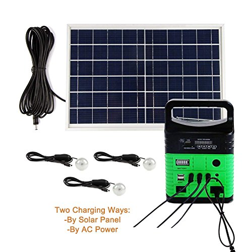 Portable Solar Generator with Solar Panel,Included 3 Sets LED lights,Solar Power Inverter,Electric Generator,Small Basic Portable Generator Kit,Emergency Power Supply for Home & Camping by UPEOR