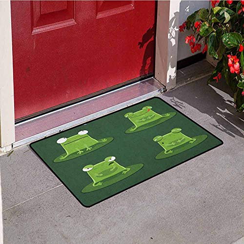 Gloria Johnson Funny Commercial Grade Entrance mat Funny Muzzy Frog on Lily Pad in Pond Hunting Tasty Fly Expressions Cartoon Animal for entrances garages patios W23.6 x L35.4 Inch Hunter Green