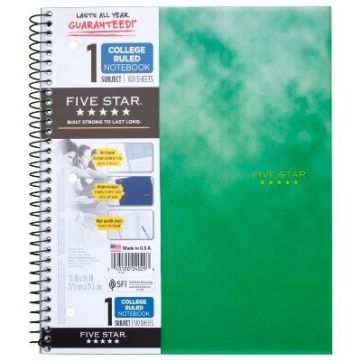 Clouded Spiral Notebook 1 Subject College Ruled Green - Five Star Green