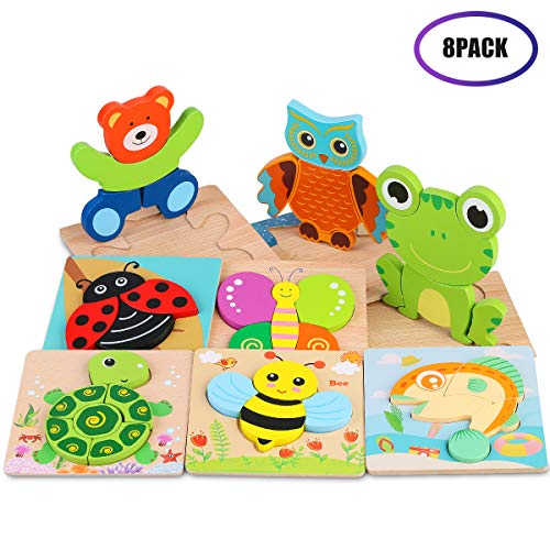 VSATEN Toddlers 3D Wooden Jigsaw Puzzles, Early Education Learning Toys Gifts Outdoor Indoor Toy with 8 Colorful Animals Patterns Safe Bright Shapes for Girls Boys 1 2 3 Years Old Kids (8 Packs) (Best Wooden Jigsaw Puzzles)