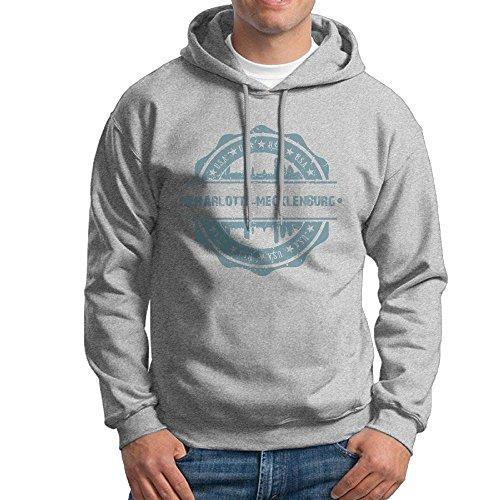 Men's Charlotte-Mecklenburg North Carolina Hoodies Hooded Sweatshirt Pullover Sweater, Super Soft Hooded Jumper Blouse ()