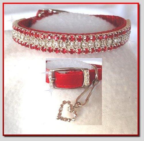 (~Red Velvet & Diamonds~ Crystal Rhinestone Pet Dog Cat Collar #304 SMALL - 3/8