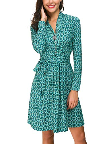 (Le Vonfort Geometric Pattern Design Dresses, Womens Retro Autumn Long Sleeve V Neck Ethnic Printed Stretchy Knee Length Shift Dress Geometric Green XX-Large)