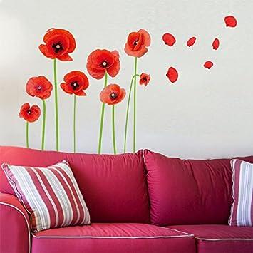 Mznm Blume Von Mohnblumen Bluten Basteln Wandtattoo Wandtattoo Wanddekoration Fur Wohnzimmer Schlafzimmer Europa Landhausstil Haus Amazon De Baumarkt
