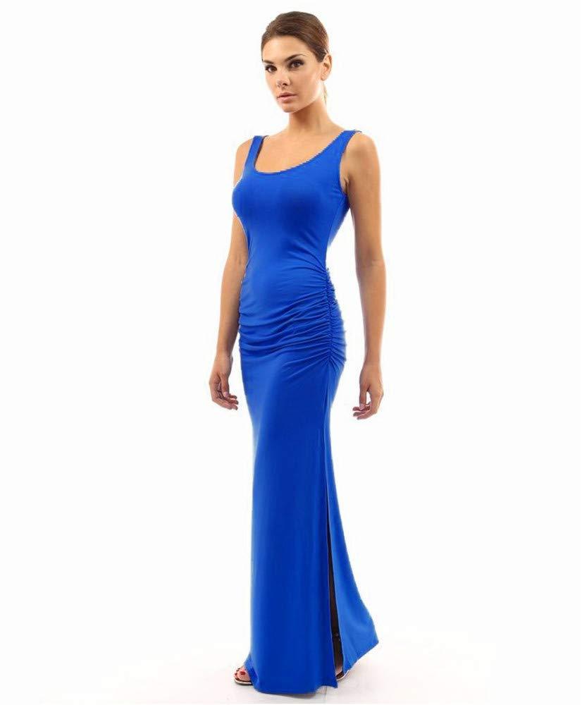 Dress Round Neck Slim Pleated Skirt Waist Pocket Hip Sleeveless Swing Open Fork, Dress Summer, bluee2,L
