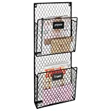 2-Pocket Rustic Wall Mounted Chicken Wire Metal Document Rack/Magazine Holder with Chalkboard Labels Review