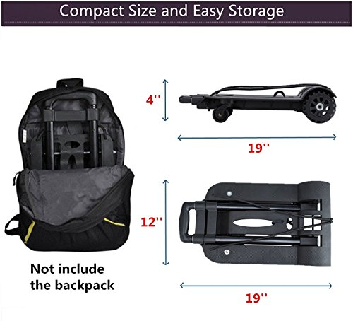 Folding Hand Truck, 75 Kg/165 lbs Heavy Duty Solid Construction Utility Cart Compact and Lightweight for Luggage, Personal, Travel, Auto, Moving and Office Use - Portable Fold Up Dolly(4 wheel-roate) by ROYI (Image #5)
