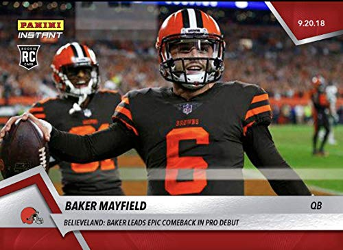 2018 BAKER MAYFIELD BROWNS DEBUT EPIC COMEBACK DARNOLD's JETS PANINI INSTANT FOOTBALL CARD #34 + ()