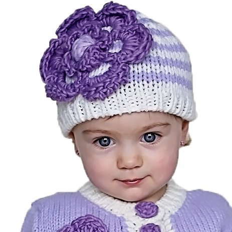 Huggalugs Baby or Toddler Girls Cozy Striped Flower Sweater or Beanie Hat (Large (Approx Age 2-6 Years), Periwinkle Beanie Hat)