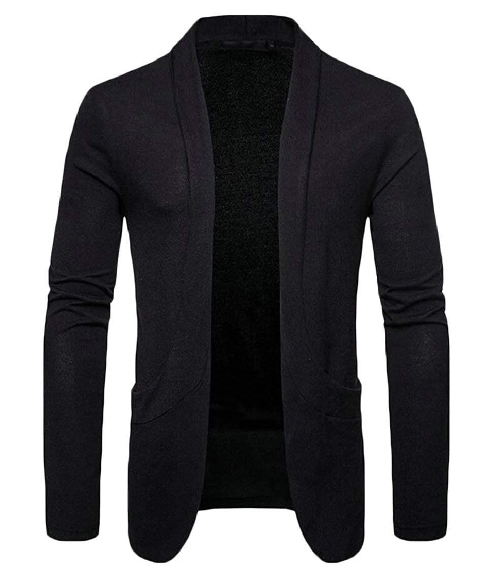Jaycargogo Mens Fall Lightweight Solid Slim Cardigan Sweaters with Pockets