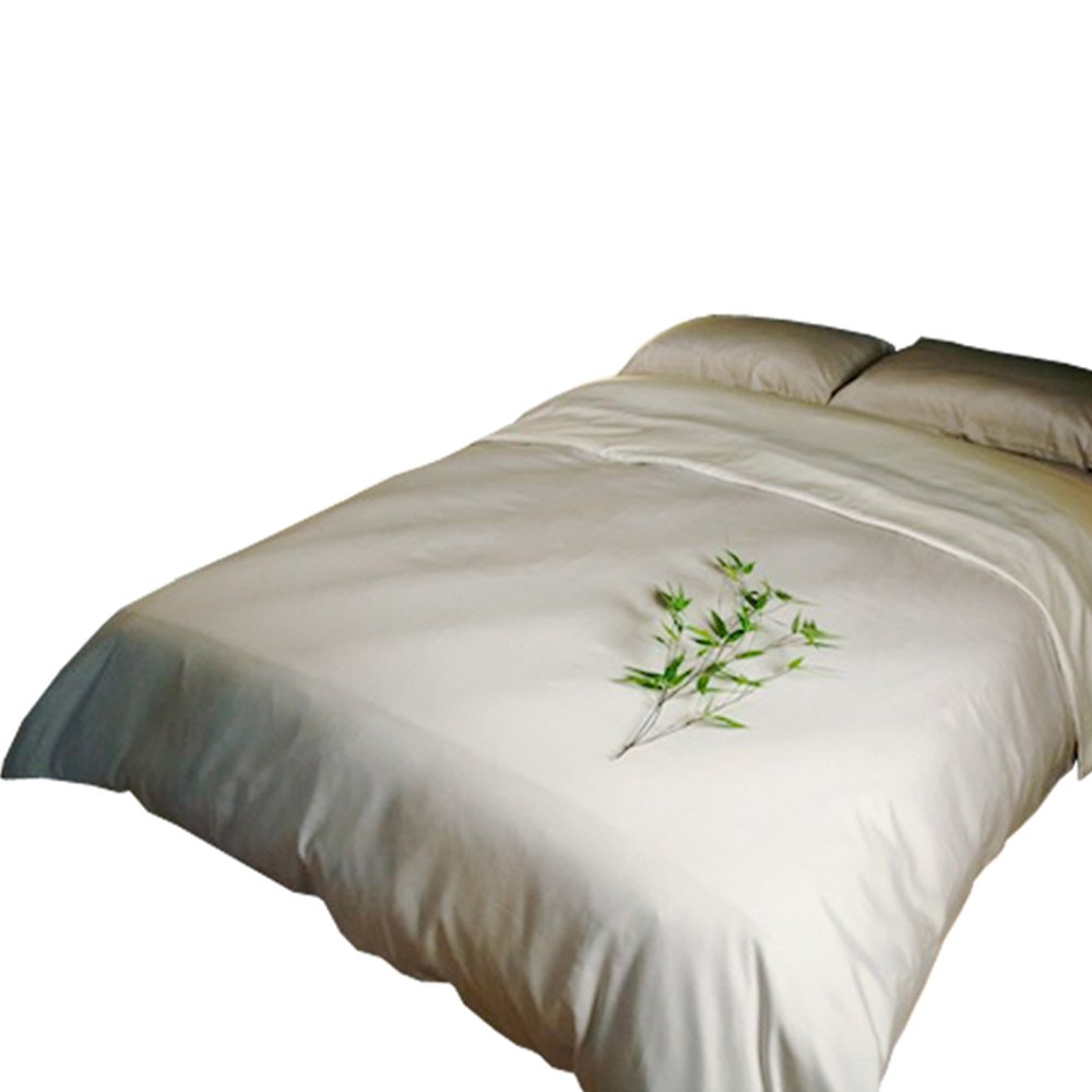SHOO-FOO - 100-Percent Bamboo Duvet Cover - Queen - 2 colors = one side:wild rice, one side: ivory DUVETC-Q-WR