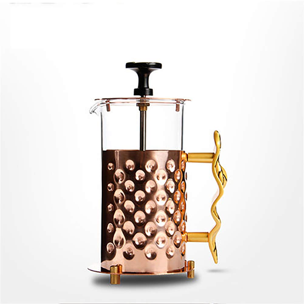 ZMEETY French Press Coffee Make Coffee Pot Glass Tea Maker Household Pure Copper Filter Press Pressure Cup