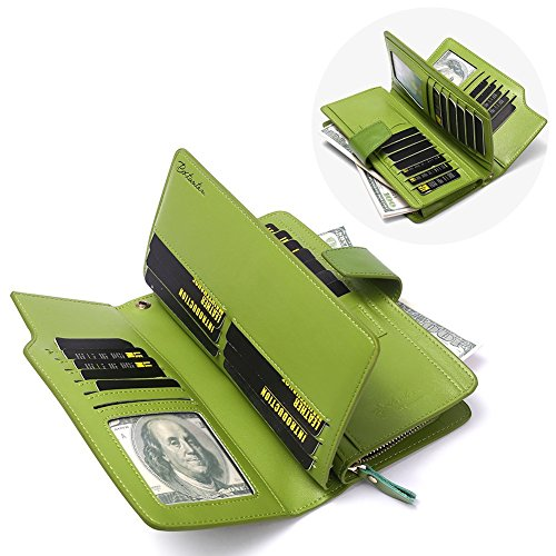 4 Credit Card Wallets Large Leather Bostanten Clutch Wristlet Womens Holder Capacity Cash green qIPfTfwxt