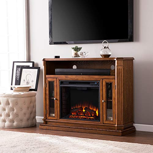 Oliver & James Harper BLVD Copeland Oak Media Console/Stand Electric Fireplace