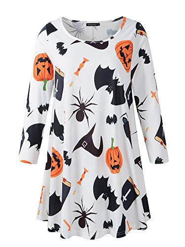 Veranee Women's Plus Size Swing Tunic Top 3/4 Sleeve Floral Flare T-Shirt (Large, 16-26) -