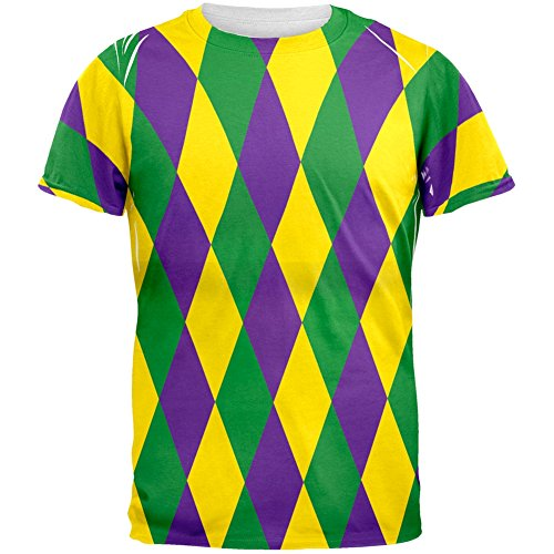 Mardi Gras Jester Costume All Over Adult T-Shirt - Large (Jester Costume)