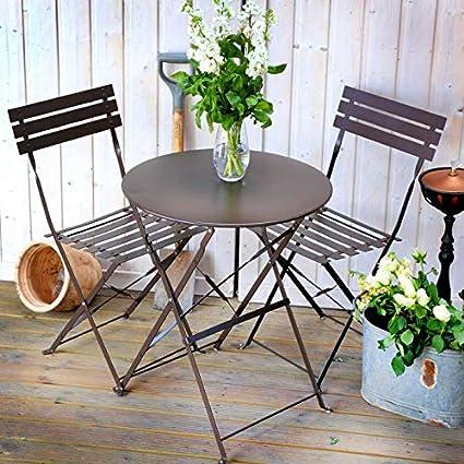 Lazy Susan Alessia Folding Metal Bistro 2 Chair Set Black