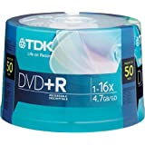 TDK 16X DVD+R 50 Pack Spindle, model # DVD+R47FCCB50*M