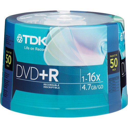 TDK 16X DVD+R 50 Pack Spindle, model # DVD+R47FCCB50M by TDK