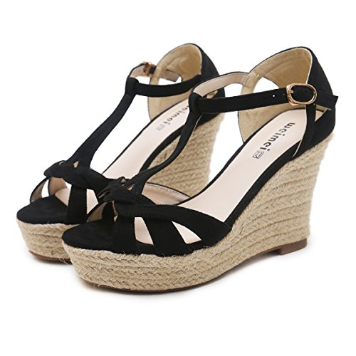 GTVERNH Women'S/Ladies/Fashion/Summer/In Summer Hemp Rope Thick Bottom Slope Heel Sandals Female Frosted Outdoor Waterproof Platform Bags And Heels. Thirty-Eight Black