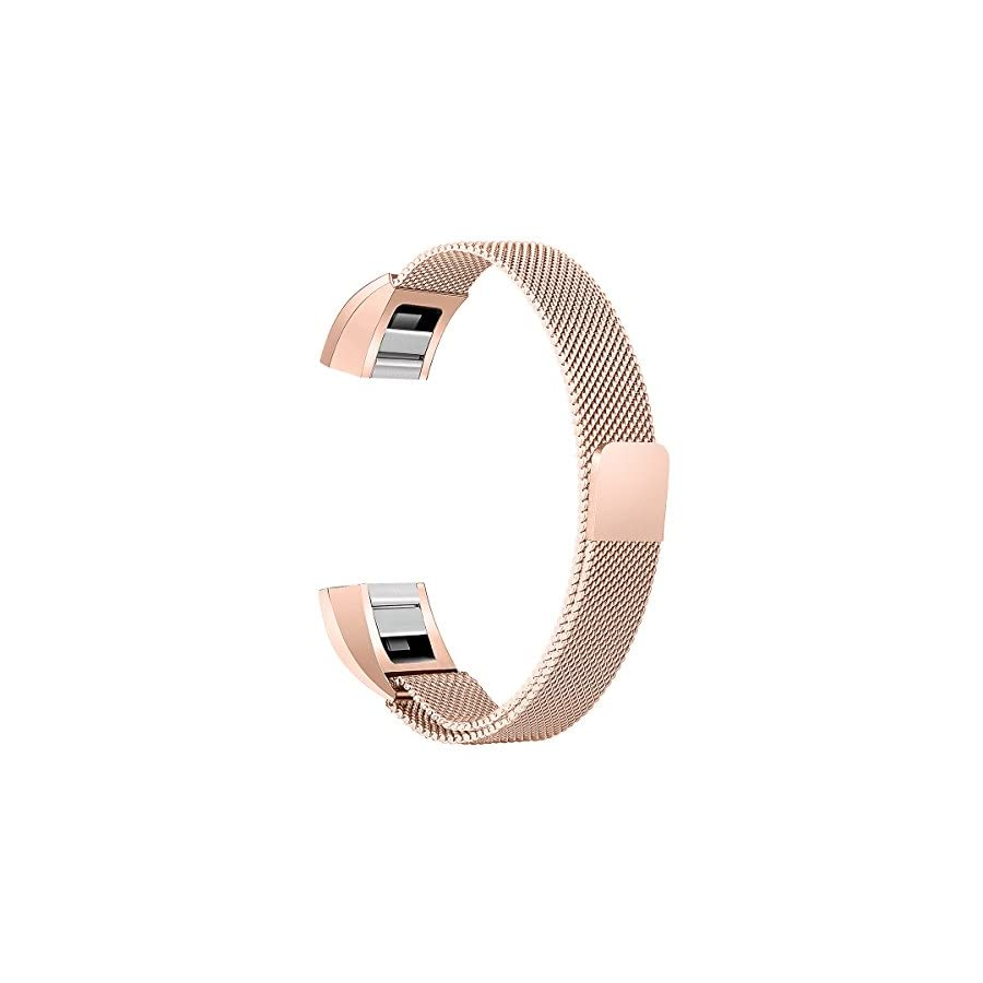 bayite Stainless Steel Bands Compatible Fitbit Alta and Alta HR, Milanese Loop Mesh Women Men