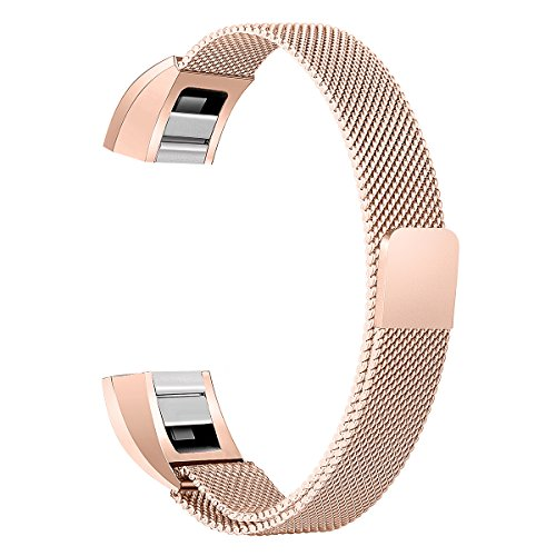 bayite For Fitbit Alta HR and Alta Bands, Replacement Milanese Loop Stainless Metal Mesh Bands Women Men Small Rose Gold by bayite