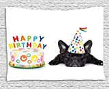 Ambesonne Birthday Decorations for Kids Tapestry, Sleepy French Bulldog Party Cake with Candles Cone Hat Image, Wall Hanging for Bedroom Living Room Dorm, 60 W X 40 L Inches, Multicolor