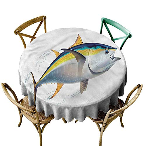 - Luunins Round Tablecloth Vinyl Fitted Fish,Realistic Yellowfin Tuna D60,for Accent Table