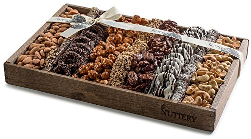 Dark Chocolates and Roasted Salted Sweet and Glazed Nuts Platter Displayed in a Reusable Medium Size Wooden Gift Tray Includes Fine Covered Chocolate Pretzels and Healthy Nuts Snacks.