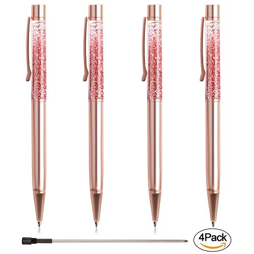 Ballpoint Pens, BYSOU 4 Pcs Rose Gold Metal Pen Refills Bling Dynamic Liquid Sand Pen Black Ink for Office Supplies