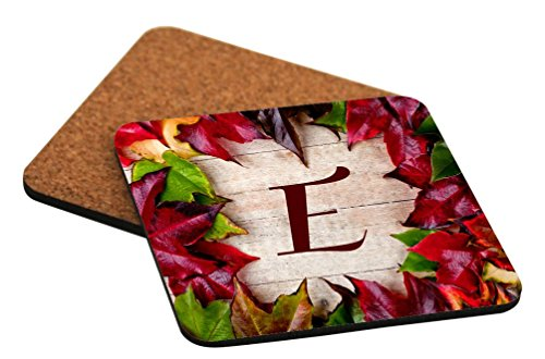 """Rikki Knight Rikki Knight - Letter """"E"""" Initial Rustic Fall Leaves on Wood Design Cork Backed Hard Square Beer Coasters, 4-Inch, Brown, 2-Pack"""