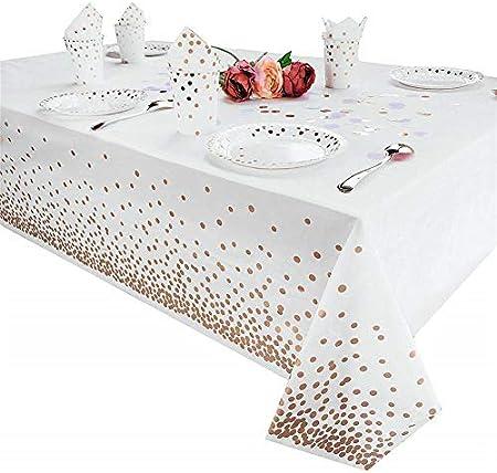Tukcherry Manteles Desechables 137 × 274 cm, Cubierta Plástica de Mesa Rectángula para Bufé, Fiesta, Cena, Boda, Picnic y Más (Oro Rosa)