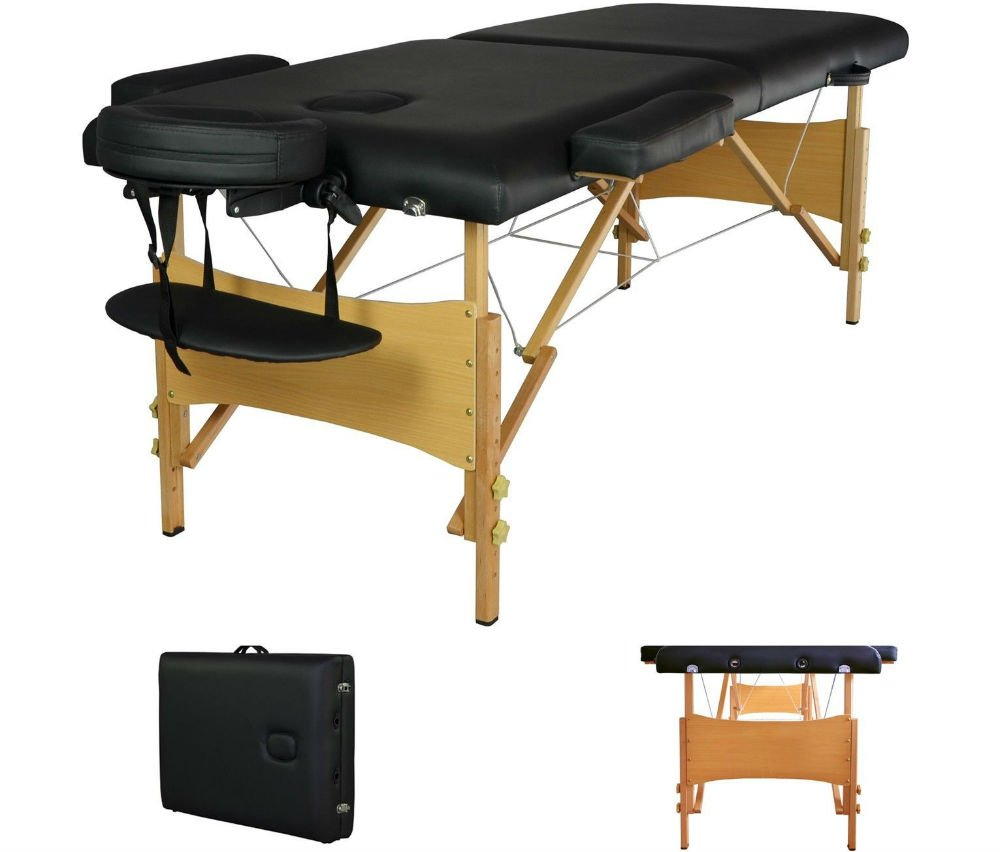 2'' Pad 84'' Black Portable Massage Table w/Free Carry Case Chair Bed Spa Facial Table