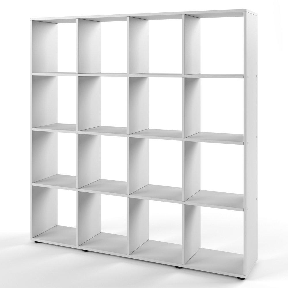 VICCO Raumteiler KARREE 16 Fächer Bücherregal Standregal Aktenregal Wandregal Raumtrenner (Weiß)