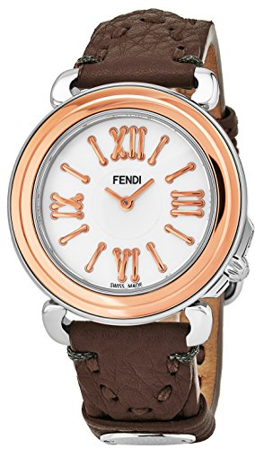 Bezel Mother Of Pearl Wrist Watch (Fendi Selleria Womens Stainless Steel Fashion Swiss Watch - Mother of Pearl Face Rose Gold Bezel Grey Leather Strap Vintage Dress Watch For Women with Interchangeable Band F8012345H0-SS18RE6S)