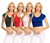 Basic Short Sleeve Crop Top for Women, Scoop Neck Crop Top Shirts - USA (Size XXX-Large, 4 Pk Black/Red / White/Royal Blue)