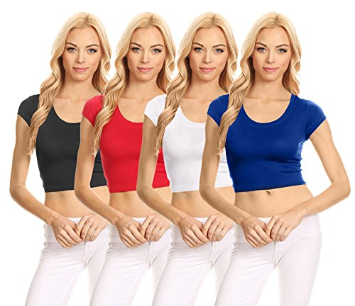 Basic Short Sleeve Crop Top for Women, Scoop Neck Crop Top Shirts - USA (Size XXX-Large, 4 Pk Black/Red / White/Royal (Scoop Neck Short Sleeve Sweater)