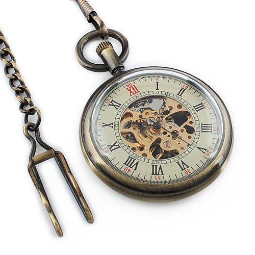 Steampunk Bronce Reloj Bolsillo Mecánico Esqueleto La Cadena Movimiento Los Hombres Antiguos: Amazon.es: Relojes