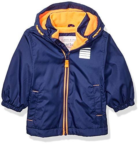 Carter's Baby Boys Fleece Lined Midweight Jacket, Navy Wildfire Neon, 24 Months - Mesh Midweight Jersey