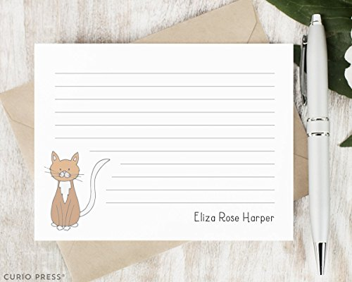 Lined Pointed Flap - DARLING CAT - Personalized FLAT Animal Stationery / Stationary Set