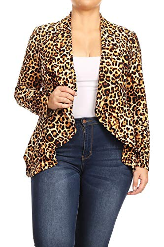 - Plus Size Solid Print Casual Long Sleeve Open Front Jacket Blazer/Made in USA Animal Brown XL