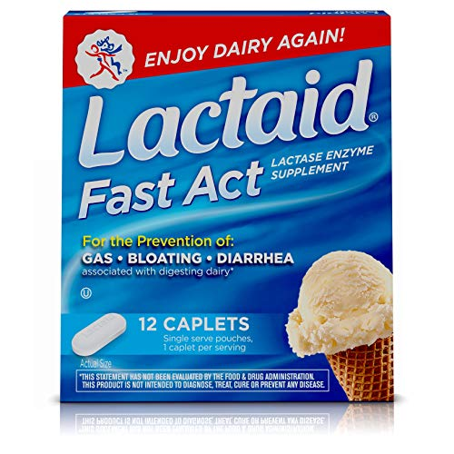 Lactaid Fast Act Lactose Intolerance Relief Caplets with Lactase Enzyme, 12 Caplets