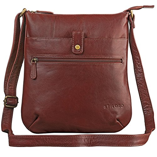 1 for Handbag in Bag Evening genuine Tablet antique brown small brown Leather Bag 10 Bag Crossbody leather Shoulder Ladies STILORD Colour copper brown 'Lina' inch FxqwzATtZ