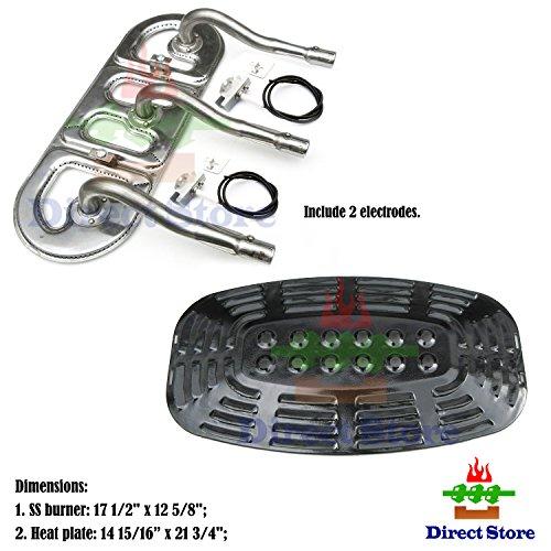 Direct store Parts Kit DG213 Replacement Uniflame GBC621CR-C,GBC730E-C,GBC730W Gas Grill Repair Kit (SS Burner + Electrodes + Porcelain Steel Heat Plate)