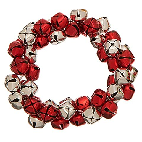 Jingle Bell Stretch Bracelet Holiday (Red) - Glitter Stretch Bracelet